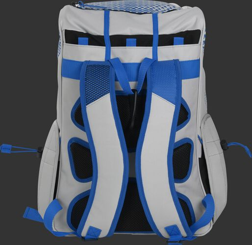 Back of a white/royal R800 Rawlings fastpitch backpack with black back padding and white shoulder straps