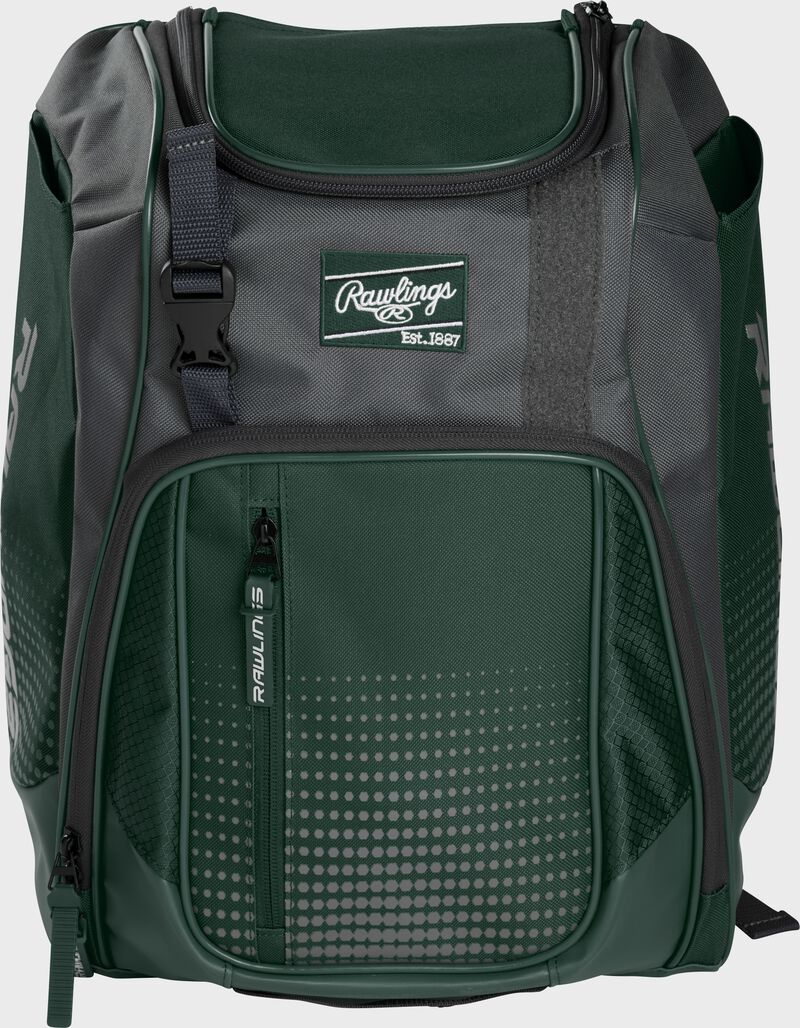 Front of a dark green Franchise baseball backpack with gray accents and a dark green Rawlings patch - SKU: FRANBP-DG