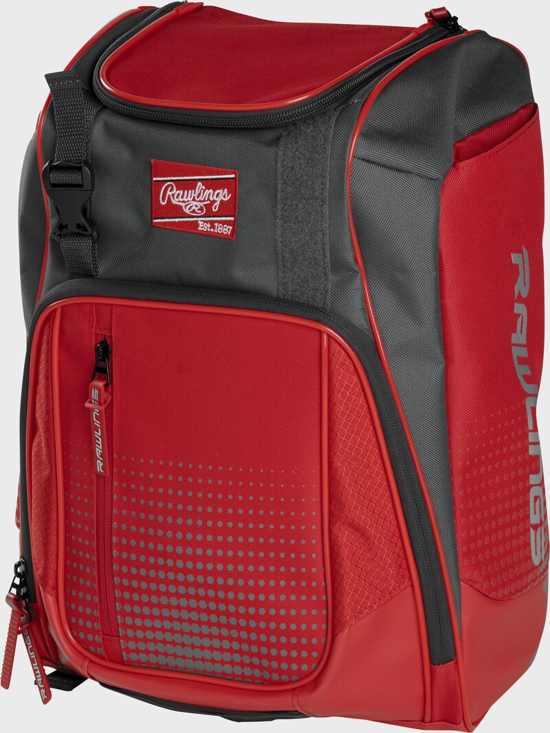 Front angle of a scarlet Franchise backpack with gray accents and scarlet Rawlings patch logo - SKU: FRANBP-S