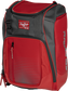 Front angle of a scarlet Franchise backpack with gray accents and scarlet Rawlings patch logo - SKU: FRANBP-S image number null