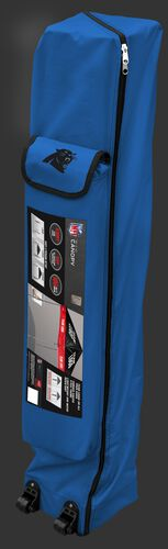 Blue wheeled carry case of a Carolina Panthers canopy with the team logo on the outside compartment - SKU: 02231090111