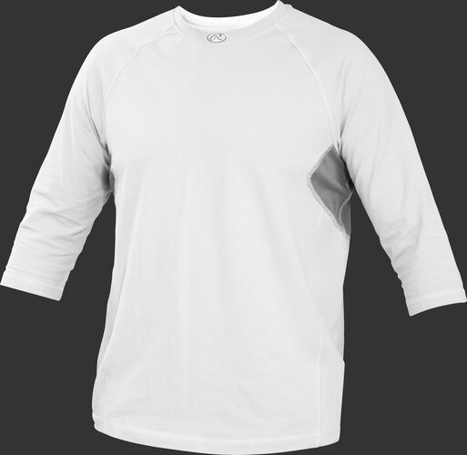 Front of Rawlings White Youth 3-Quarter Length Sleeve Shirt - SKU #YRS34