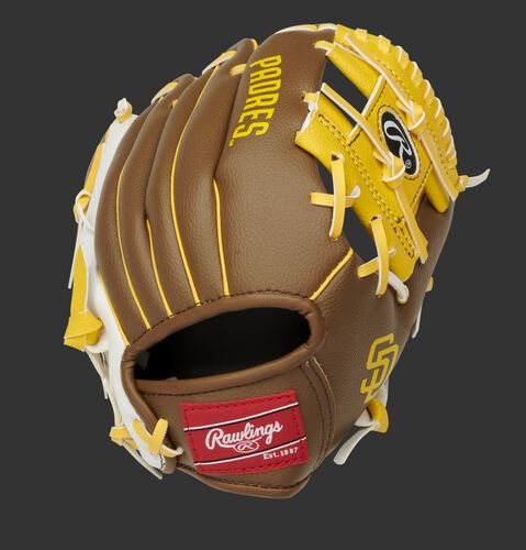 Back of a brown/white San Diego Padres 10-Inch I-web glove with a red Rawlings patch - SKU: 22000019111