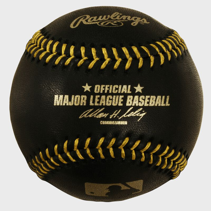 An official MLB black baseball with gold stitching - SKU: EA-ROMLBBG