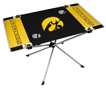 NCAA Iowa Hawkeyes Endzone table constructed in team colors with team logos and features two cup holders