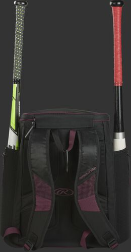 Back of a maroon/black R600 Rawlings baseball backpack with two bats