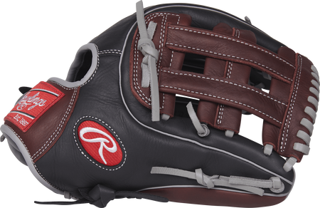 Thumb view of a black R9315-6BSG R9 Series 11.75-inch infield glove with dark sherry trim and a dark sherry H web
