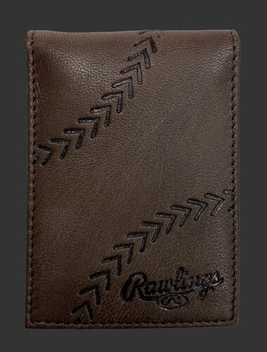 A brown debossed stitch front pocket wallet with a baseball stitch design and Rawlings logo in the bottom right - SKU: PRW009-200
