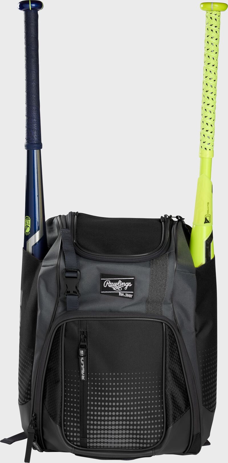 Front of a black Rawlings Franchise baseball backpack with two bats in the side sleeves - SKU: FRANBP-B