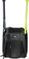 Front of a black Rawlings Franchise baseball backpack with two bats in the side sleeves - SKU: FRANBP-B image number null