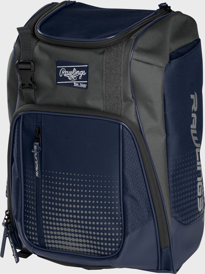 Front angle of a navy Franchise backpack with gray accents and navy Rawlings patch logo - SKU: FRANBP-N