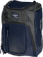 Front angle of a navy Franchise backpack with gray accents and navy Rawlings patch logo - SKU: FRANBP-N image number null