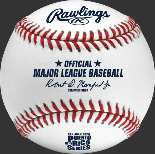 A 2020 MLB Puerto Rico Series baseball with the Official Major League Baseball stamp - SKU: ROMLBPRS20