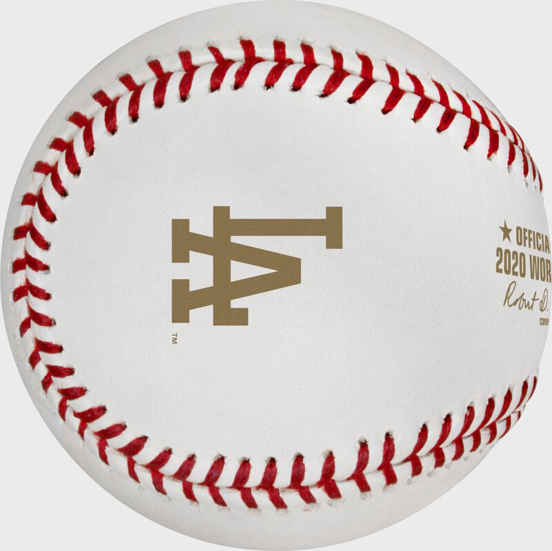 The Los Angeles Dodgers logo stamped in gold on a World Series dueling baseball - SKU: EA-WSBB20DL-R