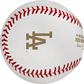The Los Angeles Dodgers logo stamped in gold on a World Series dueling baseball - SKU: EA-WSBB20DL-R image number null