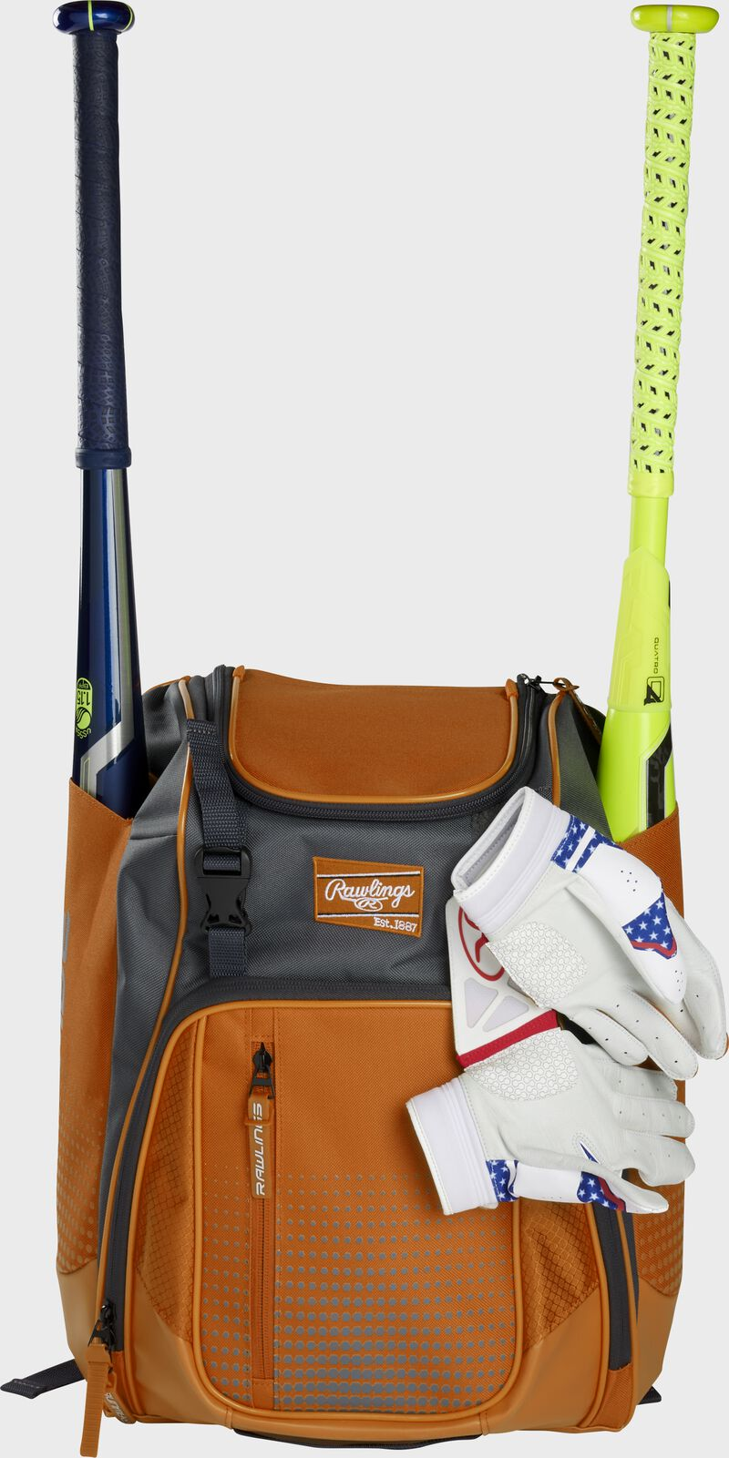 An orange Franchise backpack with two bats in the sides and batting gloves on the front Velcro strap - SKU: FRANBP-O