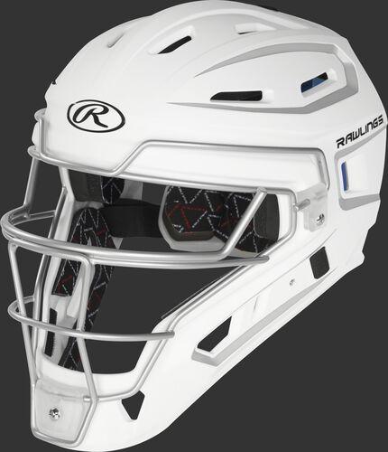 A white/silver CHV27J Junior Rawlings Velo 2.0 catcher's helmet