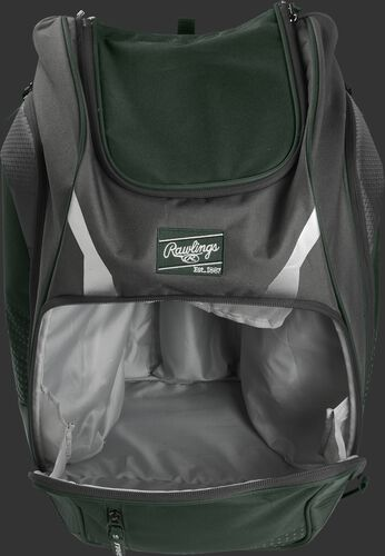 A dark green Legion gear backpack with the main compartment open - SKU: LEGION-DG