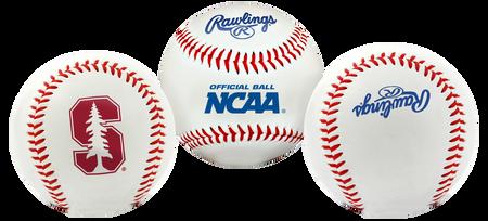 3 views of a NCAA Stanford Cardinals baseball with a team logo, NCAA logo and Rawlings logo