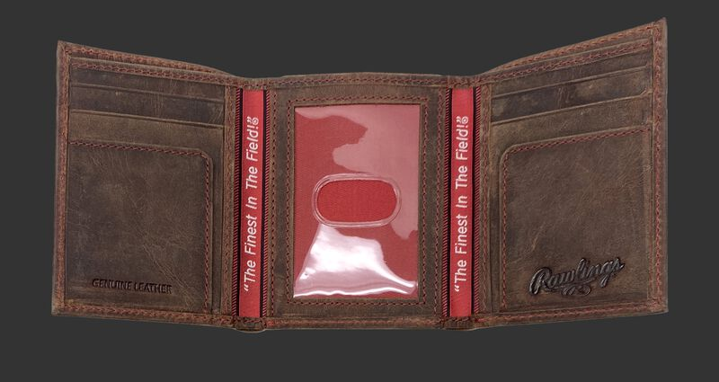 Inside of a brown tri-fold high grade debossed wallet with a clear ID window in the center - SKU: RPW005-200