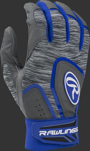 Heather grey 5150GBGY youth 5150 batting gloves with royal trim and wrist strap