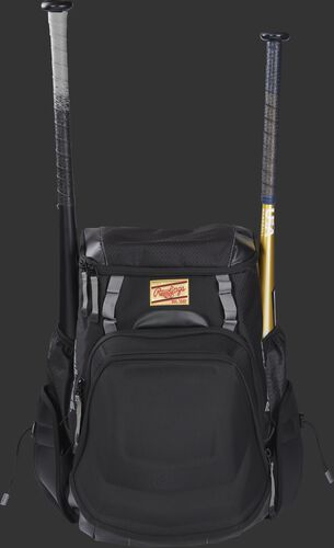 Front of a black R1000 Gold Glove Equipment bag with two cleats and two bats in the side compartments