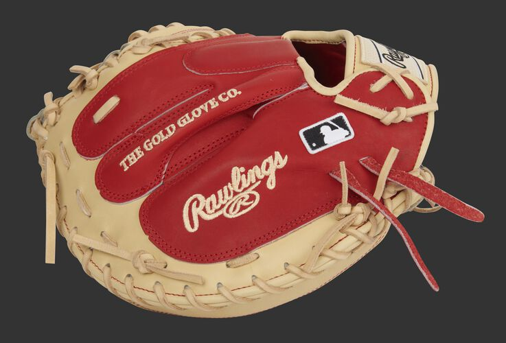 Scarlet back of an exclusive Pro Preferred catcher's mitt with the MLB logo - SKU: PROSCM33CS