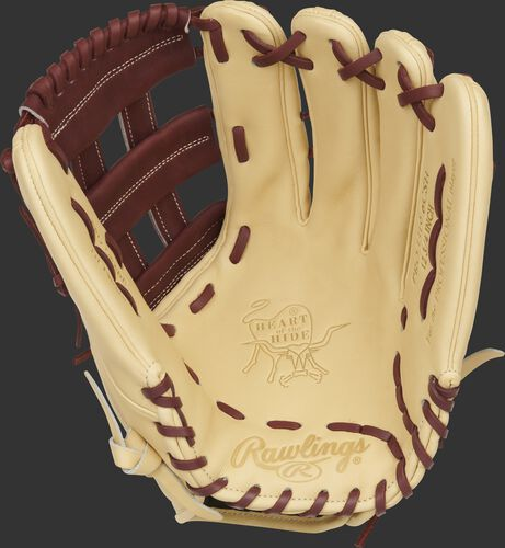 Camel palm of a Rawlings Heart of the Hide ColorSync 5.0 outfield glove with maroon laces - SKU: PRO3319-6CSH