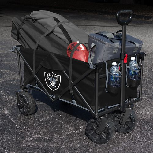 An Oakland Raiders wagon filled with a tent, football chairs and cooler SKU #00931072519