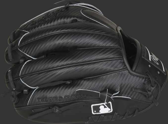 Black Hyper Shell fingers of a Rawlings HOH infield/pitcher's glove with the MLB logo on the pinkie - SKU: PRO205-9BCF
