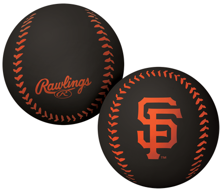 A black San Francisco Giants Big Fly rubber bounce ball
