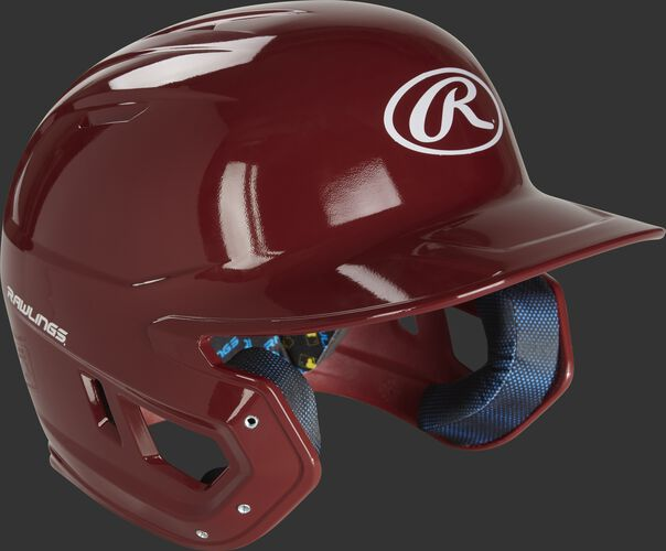 Right angle of a MCH01A high school Mach baseball helmet with a cardinal red shell