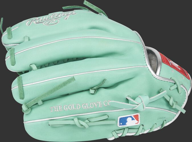 Finger backs of an ocean mint Marcus Stroman glove with the MLB logo on the pinkie - SKU: PROS206-MSO