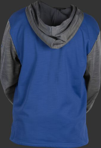 Back of a royal fleece hoodie with gray sleeves and hood - SKU: PFH2PRBB-R/GR
