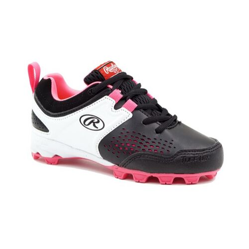 Rawlings White, Pink, and Black Youth Girls Clubhouse Low Cleats SKU #5561GBKPK