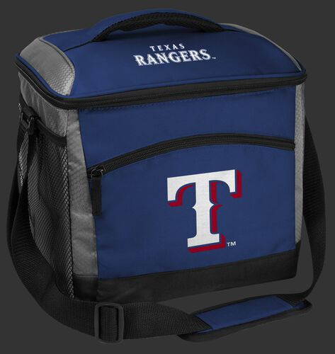 A blue Texas Rangers 24 can soft sided cooler with screen printed team logos - SKU: 10200022111