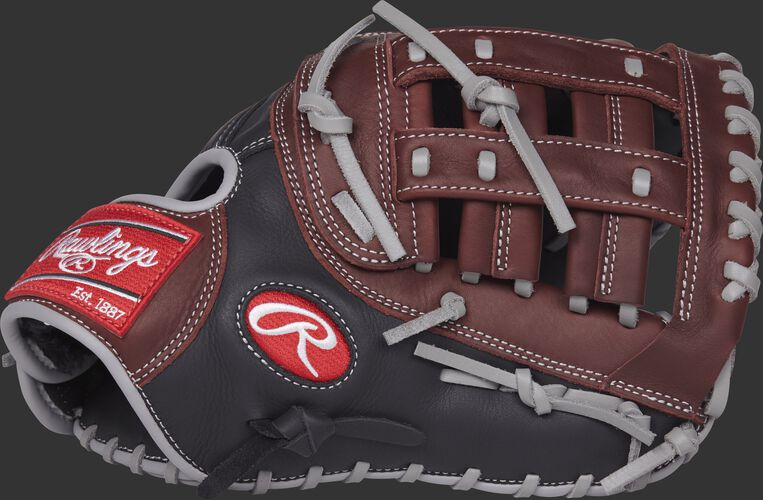 Thumb view of a R9FM18BSG R9 Series 12.5-inch first base mitt with a dark sherry modified pro H web