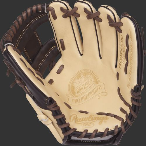 PROSNP4-2CMO 11.5-inch Rawlings baseball glove with a camel palm and chocolate brown laces