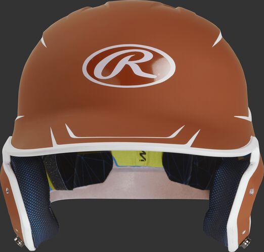 Front of a matte orange/white MACH Junior size batting helmet