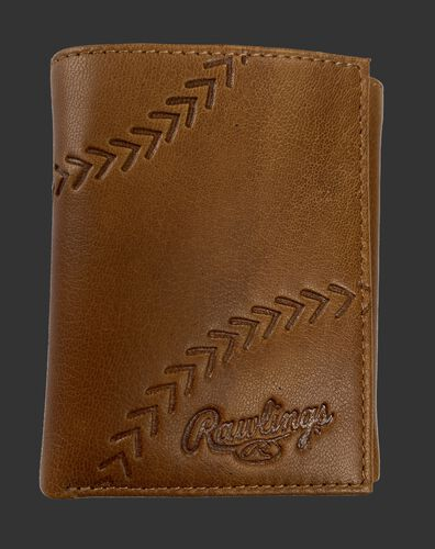 A tan Debossed stitch tri-fold wallet with baseball stitches and the Rawlings logo in the bottom right - SKU: RPW008-204