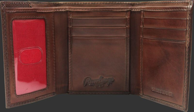 Inside of a brown RW80003-200 Rawlings tri-fold wallet with 6 credit card slots and clear ID window on the left