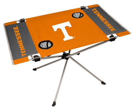 NCAA Tennessee Volunteers Endzone table featuring team logos, team colors and has two cup holders