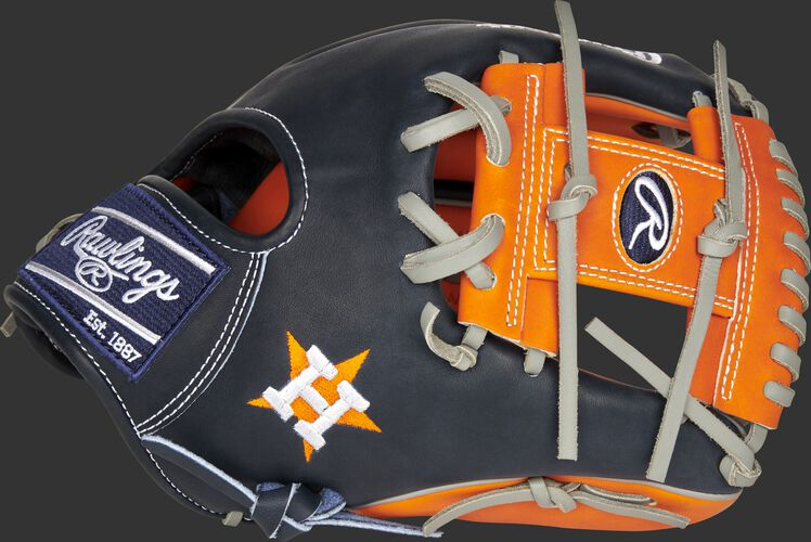 A 2021 Houston Astros Heart of the Hide glove with the Astros logo on the thumb - SKU: RSGPRO204-2HOU