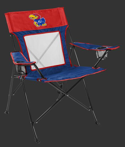 Front of Rawlings Blue and Red NCAA Kansas Jayhawks Game Changer Chair With Team Logo SKU #00643034111