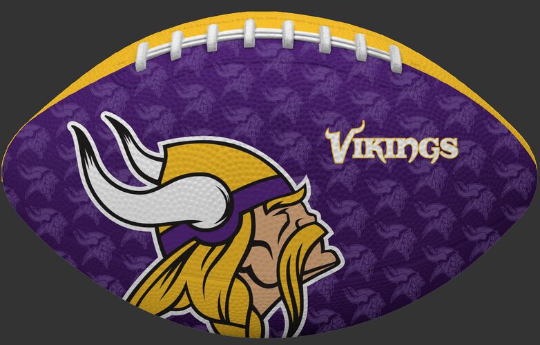 Purple side of a NFL Minnesota Vikings Gridiron football with the team logo SKU #09501075122