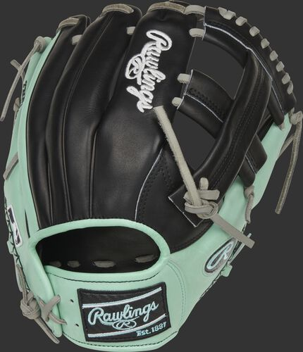 Black/Ocean mint back of a Heart of the Hide ColorSync 5.0 single post web glove with a black Rawlings patch - SKU: PRONP4-20BOM