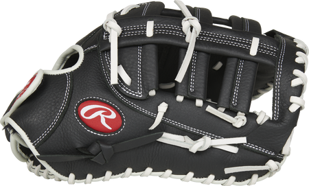 Thumb of a black RSOFBMBW Shut Out 13-inch first base mitt with a black Single Post, Double Bar web