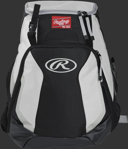 Front of a black/white R500 Rawlings Players team backpack with a Rawlings patch and white Oval R