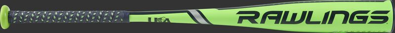 US9T12 Rawlings Threat -12 USA bat with a green barrel and navy accents