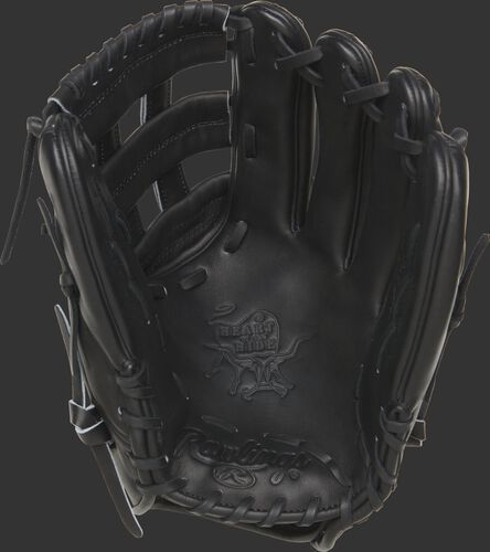 "PROKB17-6B Rawlings ""Carbon"" Pro Label glove with a black palm, web and laces"